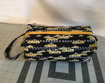 Large Taxi Print zippered box bag for knitting, spinning, toiletries, etc.