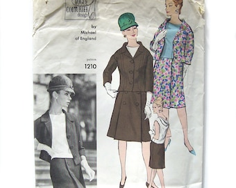 1963 Vintage Vogue Couturier  Sewing Pattern - Michael of England - Suit and Blouse Semi-Fitted Jacket / Size 12 UNCUT FF with Tag