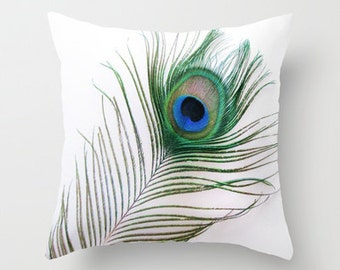Photo Pillow Cover Decorative Peacock Feather 16x16