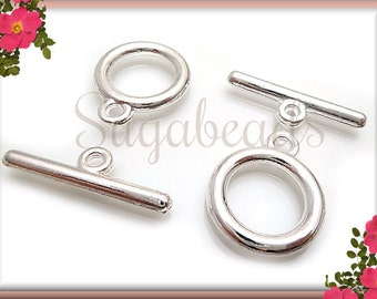 6 Silver Plated Round Smooth Toggle Clasps