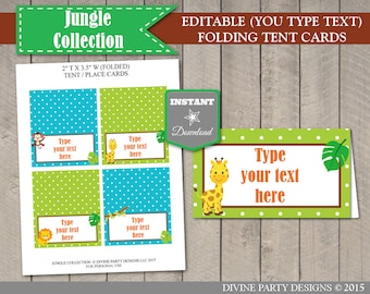 INSTANT DOWNLOAD Printable Jungle Safari Editable Folding Tent or Place Cards / You Type Text / Jungle Collection / Item #1211