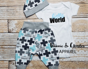 Newborn Boy Coming Home Outfit, Baby Boy Clothes, Take Home Outfit, Hello World Bodysuit, Baby Leggings, Baby Hat