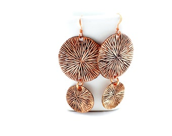 Copper Sunburst Earrings Tsalagi Cherokee Made