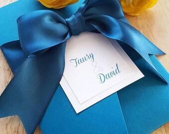 Romantic Satin Teal Pocketfold Invitation Suite