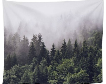Tapestry Wall Hanging Misty Forest Tapestry Starry Tapestry Forest Tree Tapestry Bedspread Throw Blanket Home Room Wall Decor