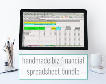 Bookkeeping spreadsheets tools for creative by paperandspark etsy financial spreadsheet bundle monthly bookkeeping template pricing inventory spreadsheet for makers and etsy sellers fandeluxe Choice Image