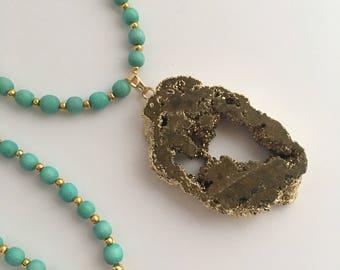Gold Druzy Pendant Necklace, Long Pendant Necklace, Druzy Pendant Necklace, Boho Pendant Necklace, Turquoise Wood Bead Necklace