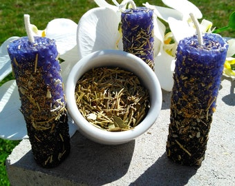 Witches Candles, Hand Rolled Beeswax Candles Multicolor Black and Purple  Herbal Candles with Loose Incense