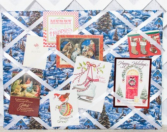 Christmas Winter Memory board, memo board, french memo board, 18x24 memory board, photo board, photo display, fabric memo board