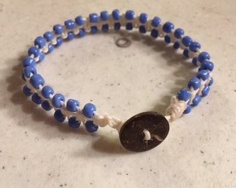 Cream Bracelet - Periwinkle Seed Beads - Macrame Jewelry - Fashion - Trendy - Beaded - Button Clasp