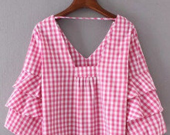 Pink gingham tiered puff sleeve top