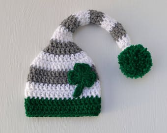 Crochet Baby St. Patrick's Day Shamrock Stocking Beanie Hat Striped Newborn Baby Photography Prop St. Patrick's Day Hat Photo Prop Handmade