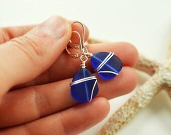 Cobalt blue lever back earrings cobalt blue sea glass earrings blue beach glass jewelry anniversary gift ideas bridesmaids earrings wedding