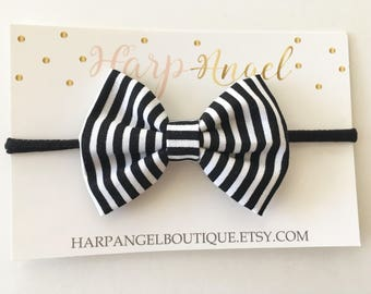 Chic Black & White Stripe Fabric Hair Bow Nylon One Size Headband or Clip Newborn / Baby / Toddler / Girls
