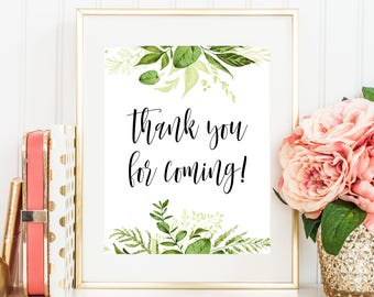 Thank You For Coming Printable Party Sign, Bridal Shower Sign, Baby Shower Sign 8x10 Greenery Green Wreath Laurel Leaves Botanical 80J