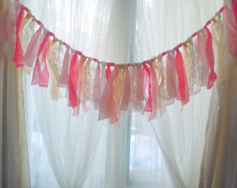 pink gold lace fabric tie Nursery garland, Shabby gypsy boho fringe rag tie bunting swag, bohemian decor window valance OOAK 45 inch garland