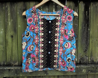 Oriental floral blue and pink button up singlet