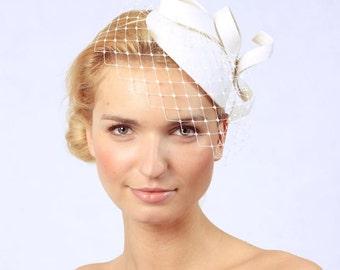 Bridal Hair Accessories,Felt Mini Hat,Fascinator,Light Cream