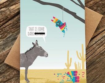 lustige Geburtstagskarte / Esel Pinata Karte / Reifen