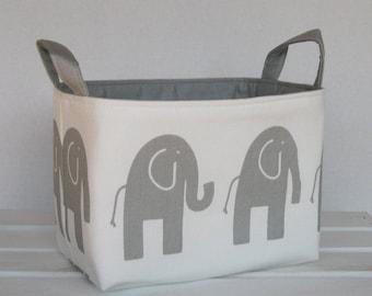 Organizer Storage Fabric Bin Basket Bucket Container Organization - Ele Elephant - Gray on White