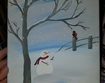 In the meadow we will build a snowman canvas