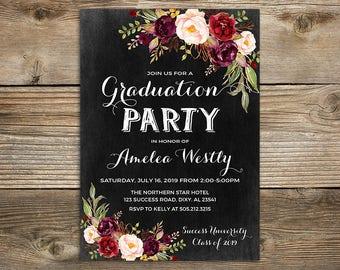 Floral graduation invitation printable chalkboard graduation