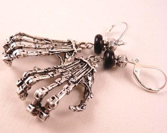 Halloween Earrings Halloween Jewelry Skeleton Earrings Silver Earrings Silver Jewelry Skeleton Jewelry Beaded Jewelry Beaded Earrings