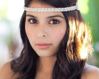 Silver Headband - Wedding Headpiece - Bridesmaids Hair Accessory - Crystal Headpiece - Prom Fashion - Great Gatsby - Flower Girl
