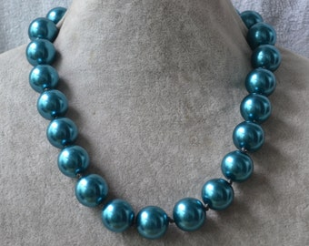huge teal pearl Necklace,17.5 inch 16mm big Teal Pearl Necklace,Hand knotted Necklace, bridesmaid necklace, Glass Pearl Necklace