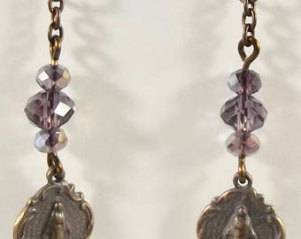 Catholic Earrings with Miraculous Medal and Chinese crystals Jewelry