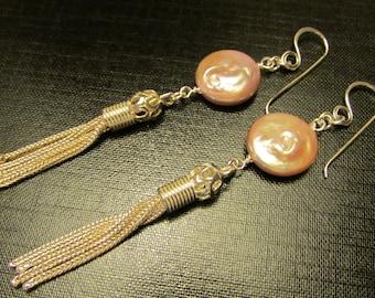 Coin Pearl Tassel Earrings, Tassel Earrings, Tassel Jewelry, Pearl and Silver, Coin Pearl Earrings, Silver Tassels by Josephine's Cotillion