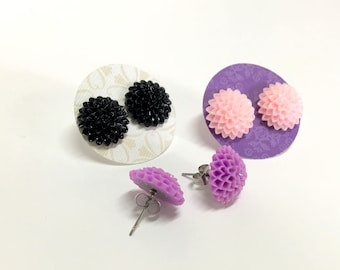 NEW - surgical steel post- stud earrings - Dahlia Resin Flowers- cute, sweet and fun - great for all ages