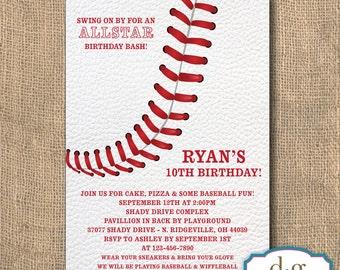 Baseball Birthday Invitation, Baseball Theme, Birthday Invitation, Baseball, 5x7, PRINTABLE
