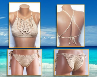 Beige Swimsuit, BeachWear  Summer Trends! Crochet Swimsuit, Beach wear, Women Top and Panties, LoveKnittings