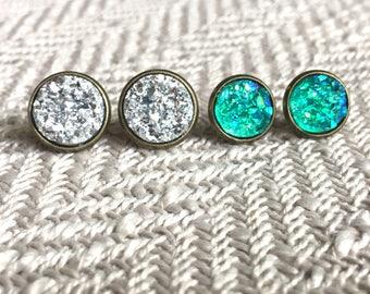 Druzy stud set, druzy earring set, stud earring set, silver druzy studs, teal druzy, faux druzy, 12mm druzy, 10mm druzy, metallic druzy