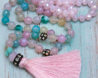 Pink Silk Tassel Necklace, Spring Gemstones Necklace, Pastel Colourful  Boho Chic Necklace, Gift for her by VintageRoseGallery