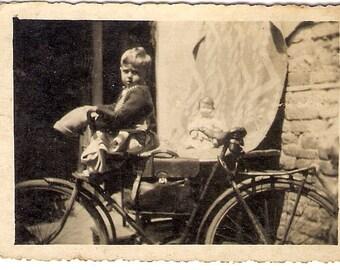 Vintage Photo boy on a bike and doll snapshpt niceshot