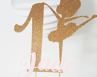 Cake - cake topper dancer gilded Decoration age + name pink - kids birthday party