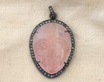 Beautifully Hand Carved Onyx & Diamond Pendant/Necklace