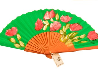 "Hand painted green pear fan ""Andalusian air"""