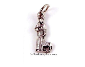 Saint Francis With Wolf of Gubbio Bracelet Medal Charm | Italian Rosary Parts
