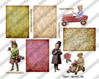 Digital Collage Sheet  ATC  Images (Sheet no. O116) Instant Download