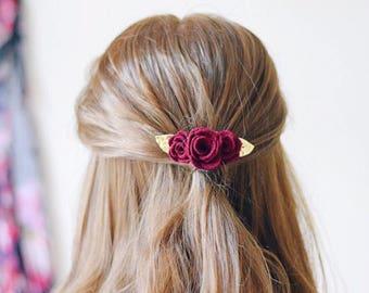 Burgundy and gold glitter flower hair clip for autumn weddings.  An alternative  colourful wedding hair accessory for bridesmaids