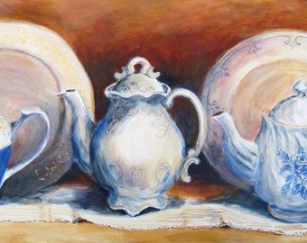 Three Ladies' Teapots, teapot limited edition print by Shirley Lowe, 10x23, heirloom teapots, blue art, kitchen art, blue and white dish
