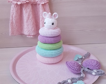 CROCHET, Crochet Pattern, UNICORN, Stacking TOY, Baby, Toddler, Toy, Baby Shower, Gift, Amigurumi, easy to follow, Printable pdf,