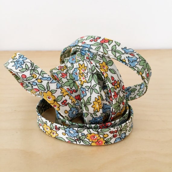 "Bias Tape- Liberty of London The Cottage Garden Forget Me Not 1/2"" double-fold binding- 3 yard roll"
