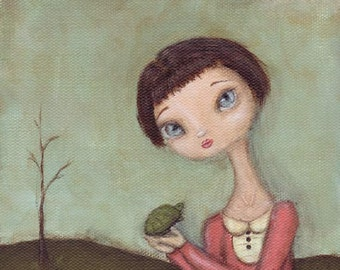 Chloe and Vince - cute art print, big eye girl with turtle wall art painting