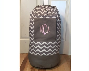Monogrammed Laundry Duffel Bag, Gray, Gray & White Chevron, Laundry Bag, Laundry Bag for College, Hanging Laundry Bag, Laundry Hamper