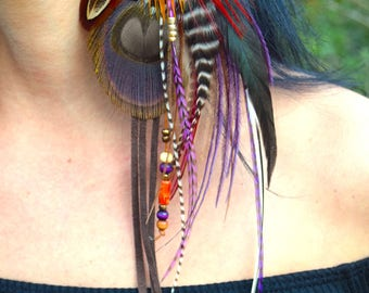 NOMADIC DREAMS Peacock Feather Earrings