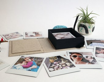 Custom printed square Polaroid/Instax instant square photos in handcrafted photo box | Print your instagram pics! Great personalized gift!